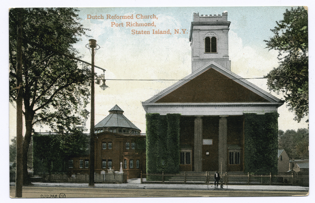 Dutch Reformed Church, Port Richmond, Staten Island, N.Y. [man and bicycle in front]