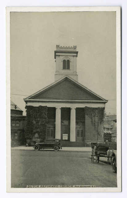 Dutch Reformed Church, Port Richmond, Staten Island [old car and horse carriage in street]