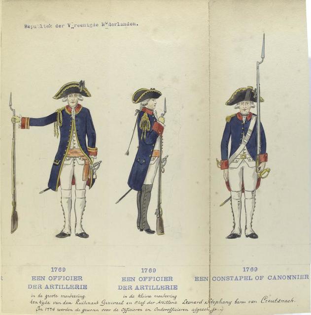 Een Officier der Artillerie (in de groote monteering),Een Officier der Artillerie (in de kleine monteering), Een Constapel of Canonnier ten tijde van den Luitenant Generaal en chef der Artillerie Leonard baron van Creutznach. 1769In 1744 werden de geweren voor de Officieren en Onderofficieren afgeschaft.