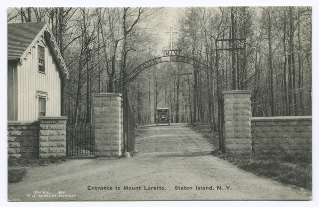 Entrance to Mount Loretto, Staten Island, N.Y.  [old car on road]