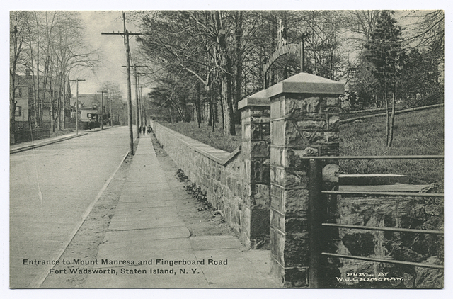 Entrance to Mount Manresa and Fingerboard Road, Fort Wadsworth, Staten Island, N.Y.