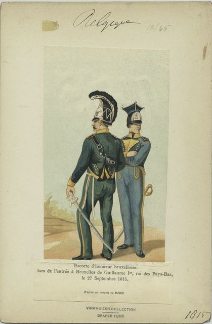 Escorte d'honneur burxelloise lors de l'entrée de Guillaume 1er, roi de Pays-bas, le 27 Septembre 1815