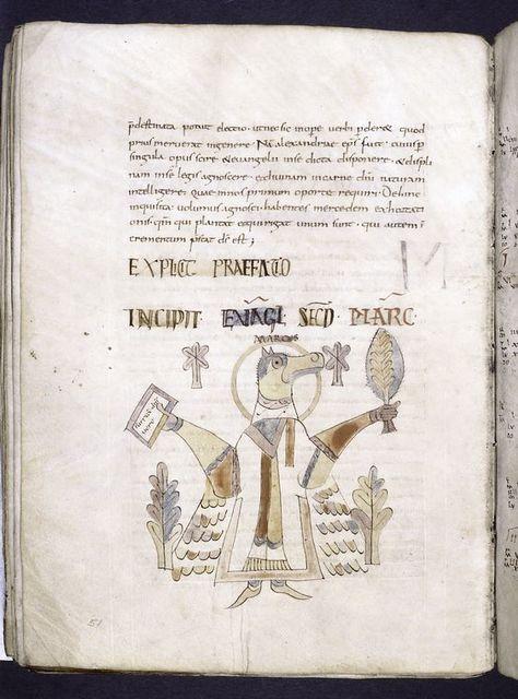 Explicit of prologue and incipit of Gospel of Mark.  Unusual symbol for Mark:  a horse.