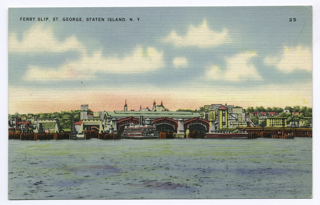 Ferry Slip, St. George, Staten Island, N.Y. (view of ferry slips from water)