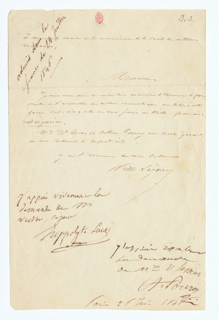 Handwritten letter signed by Victor Séjour