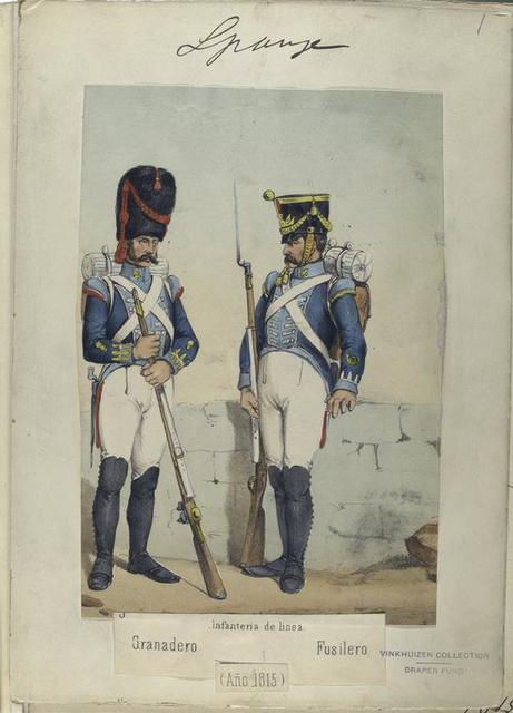 Infanteria de linea: Granadero, Fusilero. (Año 1815)