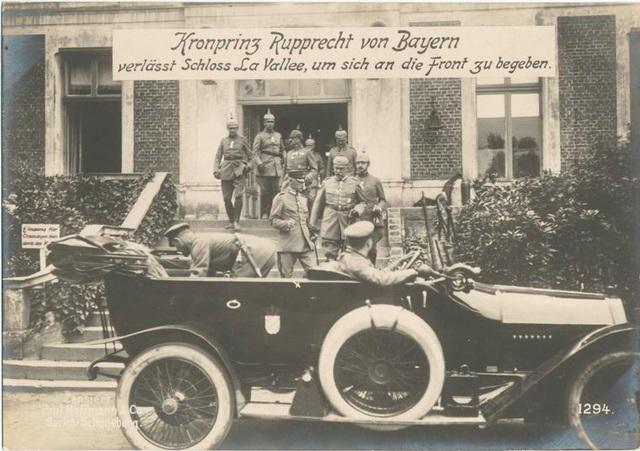 Kronprinz Rupprecht von Bayern verlässt Schloss La Vallee, um sich an die Front zu begeben.