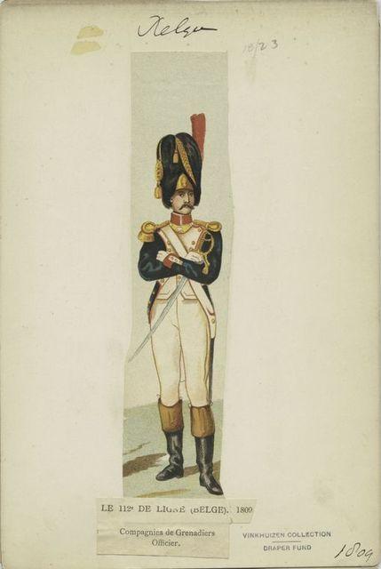 Le 112e de ligne (Belge) 1809. Companies de grenadiers. Officiers