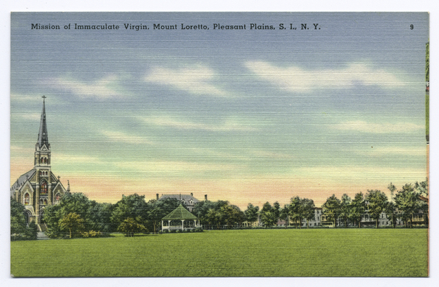 Mission of Immaculate Virgin, Mount Loretto, Pleasant Plains, S.I., N.Y.  [card mis-cut by publisher; edge shows part of a different card]