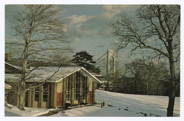 Mount Manresa [view of chapel in snow with Verrazano Bridge in background: info text on back by Jesuit Fathers]