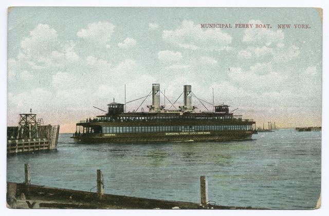 Municipal Ferry Boat, New York [ferry approaching slip]