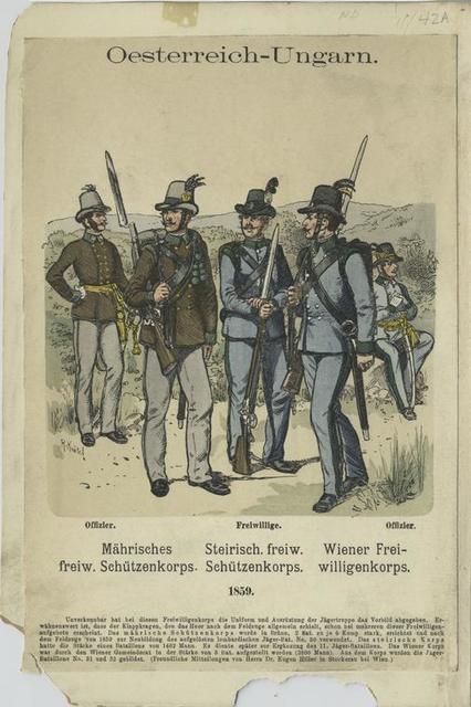 Oesterreich-Ungarn : Mährisches freiw. Schützenkorps; Steirisch. Freiw. Schützenkorps; Wiener Freiwilligenkorps, 1859