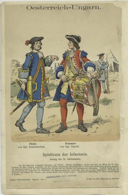 Oesterreich-Ungarn. Spielleute der Infanterie : (1) Pfeifer vom Rgt. Deutschmeister; (2) Trommler vom Rgt. Nigrelli.  (Anfang des 18. Jahrhunderts)