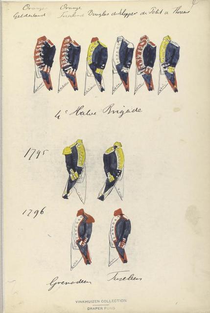 Oranje Gelderland, Orange Vriesland, Douglas de Schepper, de Petit, a [Hessen], 4. Halve Brigade, 1795, 1796, Grenadiers, Fusiliers