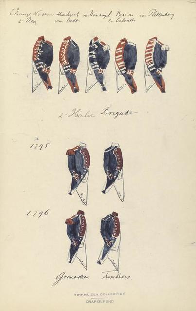 Oranje Nassau 2. Reg, Markgraaf von Baden, van Randwijck, Bosc de la Calmette,  van Plettenberg,  2. Halve Brigade 1795, 1796, Grenadiers, Fusiliers
