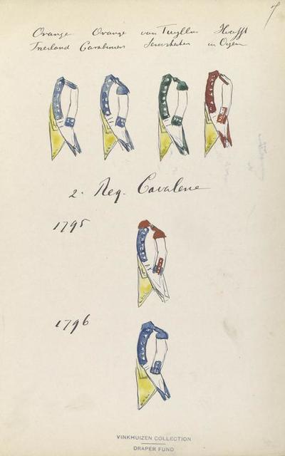 Oranje Vriesland, Oranje Cavalerie, van Tuyll Serooskerken, Hoeufft van Oijen, 2. Reg- Cavalerie, 1795, 1796