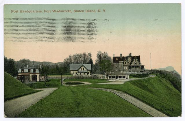 Post Headquarters, Fort Wadsworth, Staten Island, N.Y                     [addressed to someone in Linoleumville, S.I]