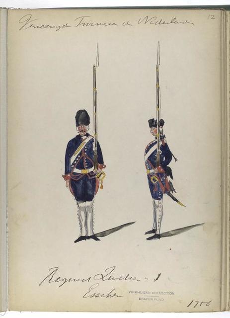 Regiment Zwitserse no. 1. Esscher [?]. 1756