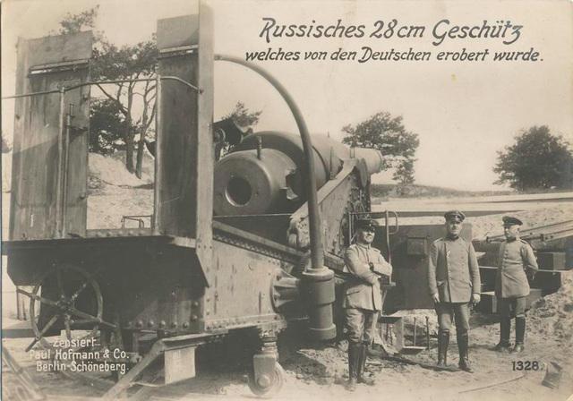 Russisches 28 cm Geschütz welches von den Deutschen erobert wurde.