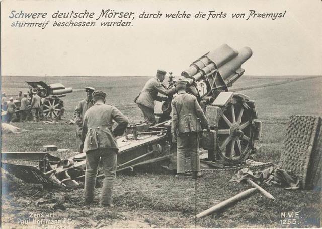 Schwere deutsche Mörser, durch welche die Forts von Przemysl sturmreif beschossen wurden.