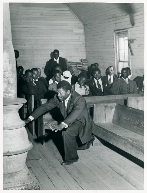 "Singing ""Trying to Make a Hundred, Ninety-Nine and a Half Won't Do"" during the collection at Negro church in Heard County, Georgia."