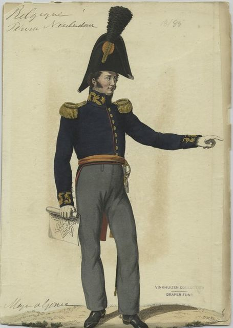 [Soldier in uniform : Blue jacket with gold buttons and epaulettes, orange sash and grey pants.]