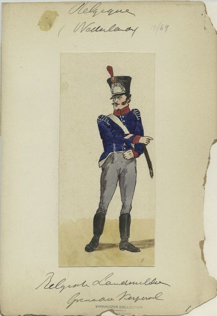 [Soldier in uniform : Blue jacket with red and white accents, grey pants.]