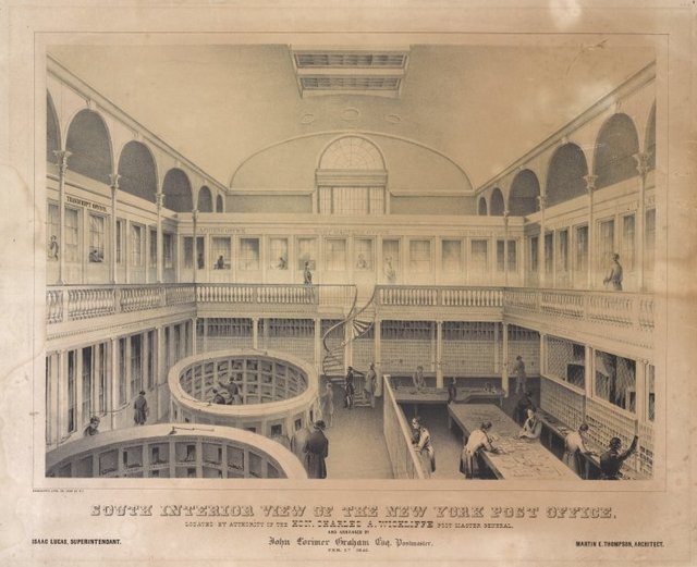 South interior view of the New York Post Office located by authority of the Hon. Charles A. Wickliffe, post master general. And arranged by John Lorimer Graham, Esq. postmaster. Feb. 1st, 1845