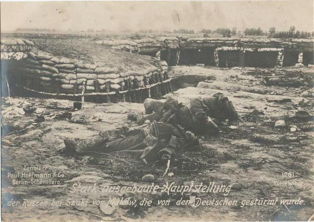 Stark ausgebaute Hauptstellung der Russen bei Szuki vor Makow, die von den Deutschen gestürmt wurde.