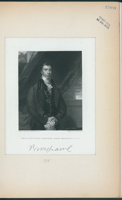 The Rt. Honble. Henry Brougham, Baron Brougham and Vaux.