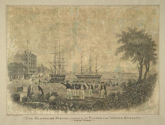 The Seamen's Home, corner of Fulton and Water Streets, New York