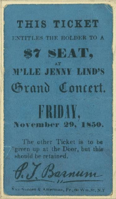 Ticket to Jenny Lind's grand concert, Friday Nov. 29, 1850.