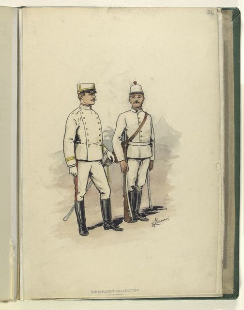 [Two soldiers in white uniforms with yellow trip. The trousers have red piping.  Both soldiers have swords, and the one on the right has a rifle as well.]