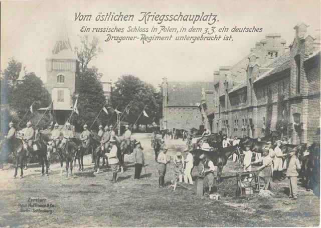 Vom östlichen Kriegsschauplatz. Ein russisches Schloss in Polen, in dem z. z. ein deutsches Dragoner-Regiment untergebracht ist.