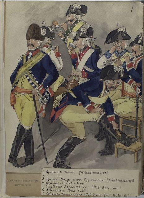 1, 2. Gardes te Paard (Wachtmeester); 3. Gardes Dragonders. Lijfescadron. (Wachtmeester); 4. Oranhe-Carabiniers; 5. Tuyll van Serooskerken (H.J. Baron van); 6. Stavenisse Pous (M);  7. Walsche Dragonders (J.C.O. graaf van Bylandt).