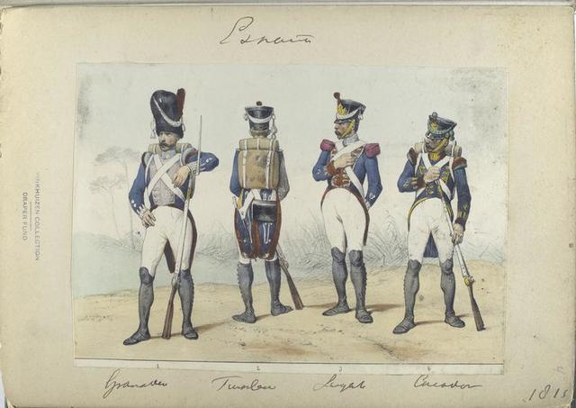 1. Granadero, 2. Fusilero, 3. Sargento, 4. Cazador.  1815