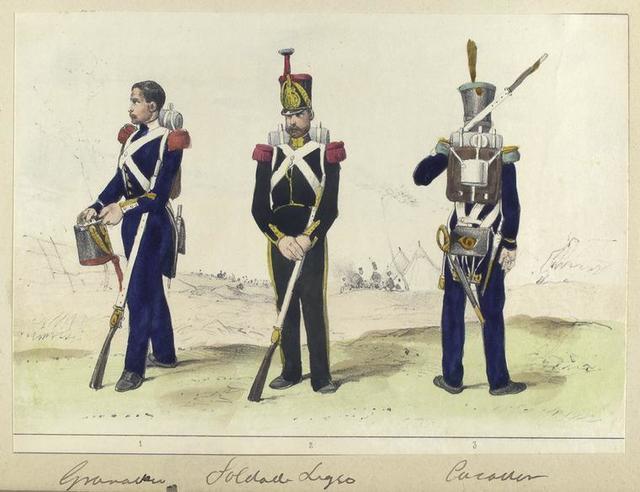 1. Granadero, 2. Soldado Ligero, 3. Cazador.