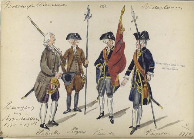 1770-1783: Schutter, Sergeant, Vaandeldrager, Kapitein.  1770