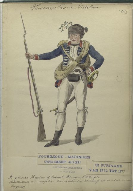 A private Marine of Colonel Fourgeoud's corps. Fourgeoud -Mariniers (Regiment no. 21), in Suriname van tot 1777.