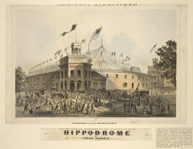 Above: Franconi schottisch [trimmed off, excepting the very bottom of the letters]. Picture of the Hippodrome