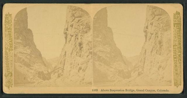 Above suspension bridge, Grand Canyon, Colorado.