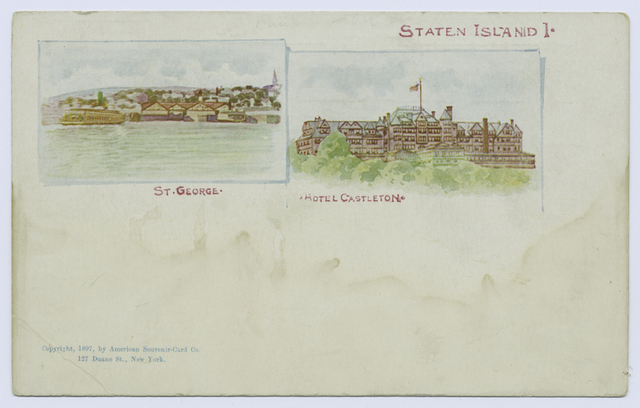 AMERICAN SOUVENIR CARD, Staten Island 1  [St. George, Hotel Castleton, Insets on face]
