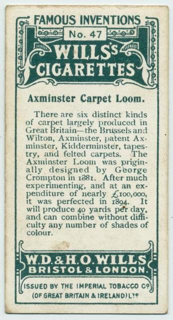 Axminster carpet loom.