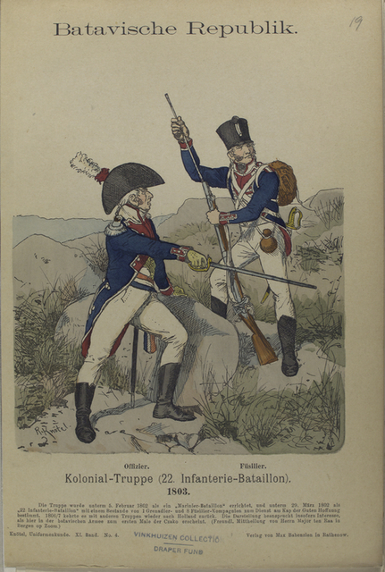 Batavische Republik. Kolonial-Truppe (22. Infanterie-Bataillon). Offizier. Fuesilier.