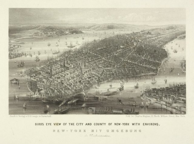 Birds eye view of the City and county of New-York with environs