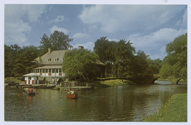 Clove Lakes Park [colorful view of restaurant, boat rental area and rowboats on lake]