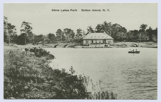 Clove Lakes Park, Staten Island, N.Y. [almost the same as #398 but with rowboat in water and different shoreline]
