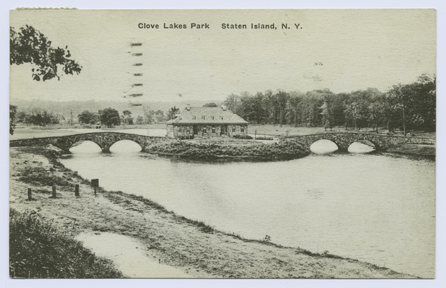 Clove Lakes Park Staten Island, N.Y. [building between two foot bridges over lake]