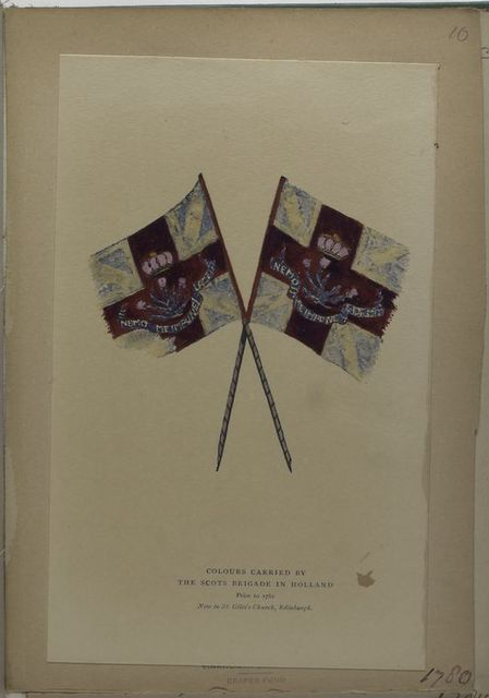 Colours carried by the Scots brigade in Holland prior to 1782.  Now in St. Giles's Church, Edinburgh. 1780