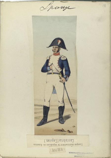 Cuerpos destinados la espedicion de América. Cantabria (Capitan) (Año 1816)